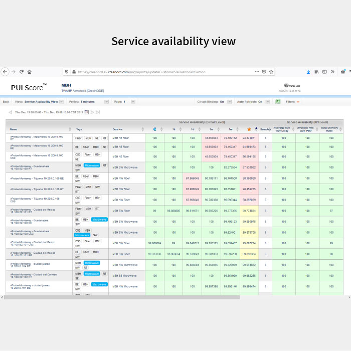PULScore service availability view